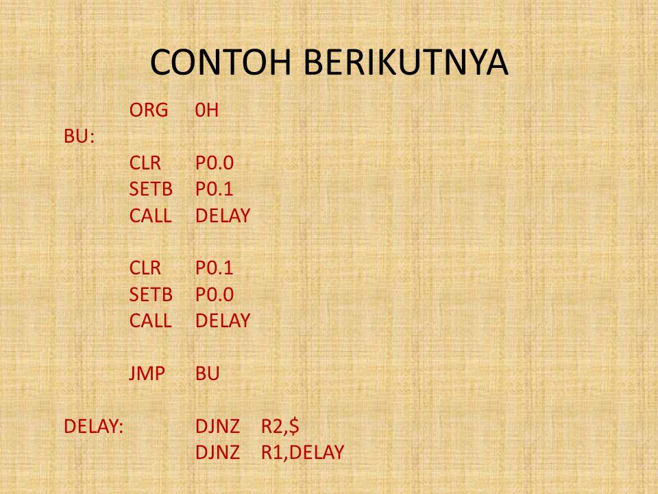 CONTOH BERIKUTNYA BU: CLR P0.0 SETB P0.1 CALL DELAY CLR P0.1 SETB P0.0