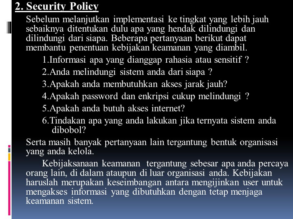 2. Security Policy