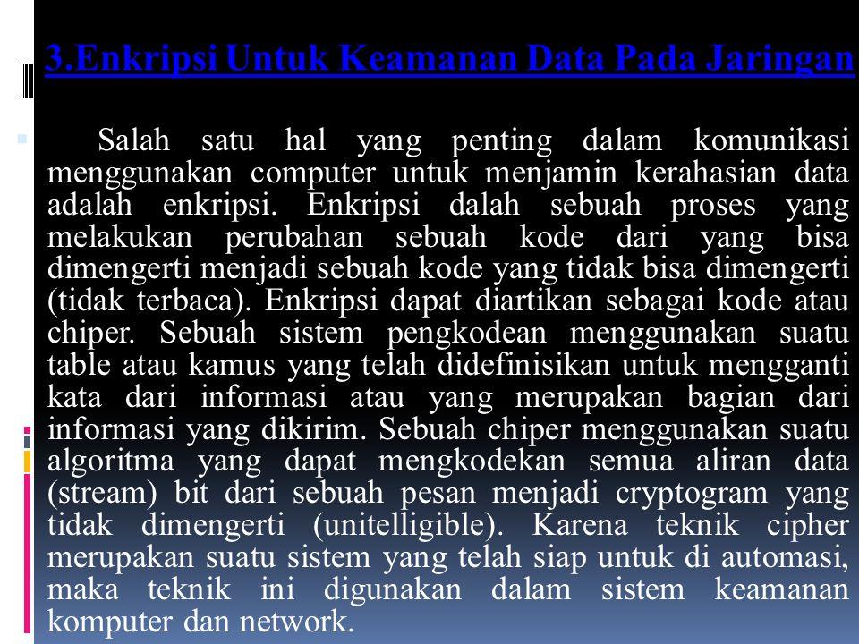 3.Enkripsi Untuk Keamanan Data Pada Jaringan