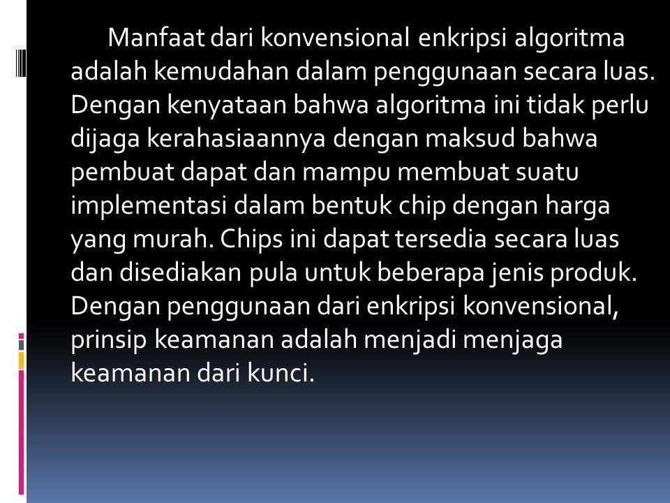 Manfaat dari konvensional enkripsi algoritma adalah kemudahan dalam penggunaan secara luas.