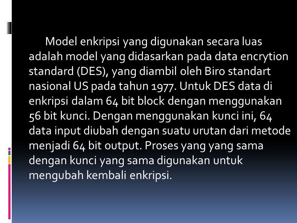 Model enkripsi yang digunakan secara luas adalah model yang didasarkan pada data encrytion standard (DES), yang diambil oleh Biro standart nasional US pada tahun 1977.