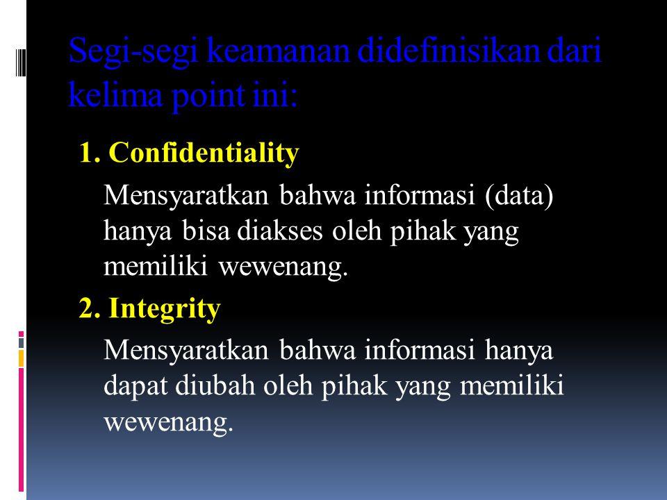 Segi-segi keamanan didefinisikan dari kelima point ini: