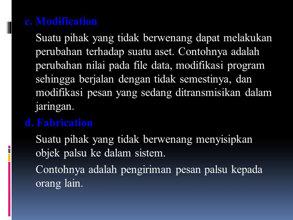 c. Modification