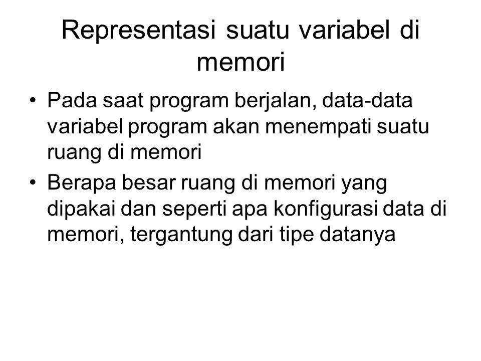 Representasi suatu variabel di memori