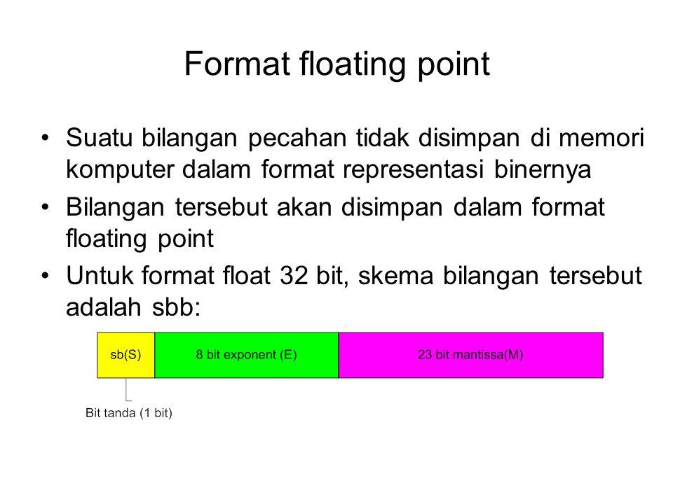 Format floating point Suatu bilangan pecahan tidak disimpan di memori komputer dalam format representasi binernya.