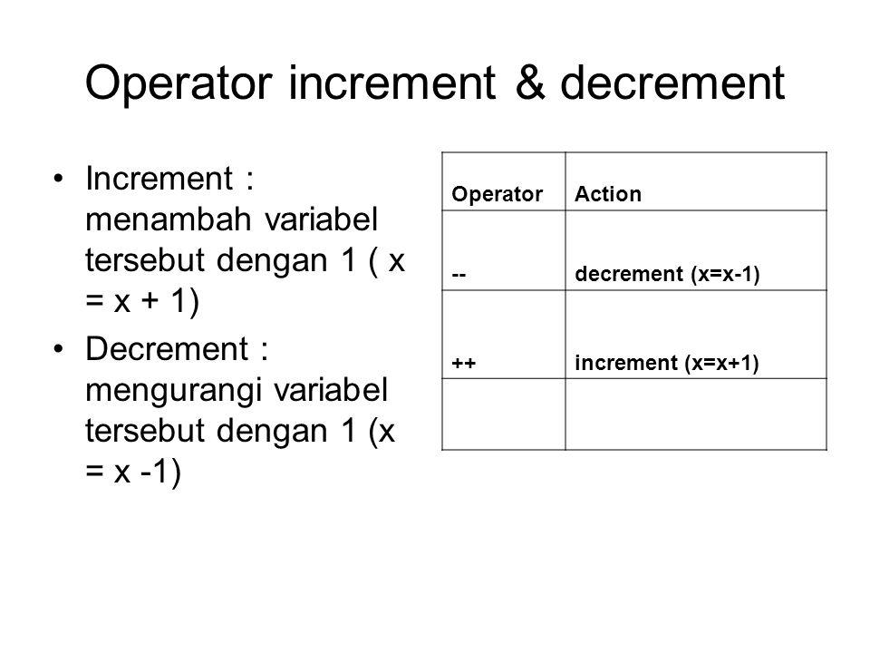 Operator increment & decrement