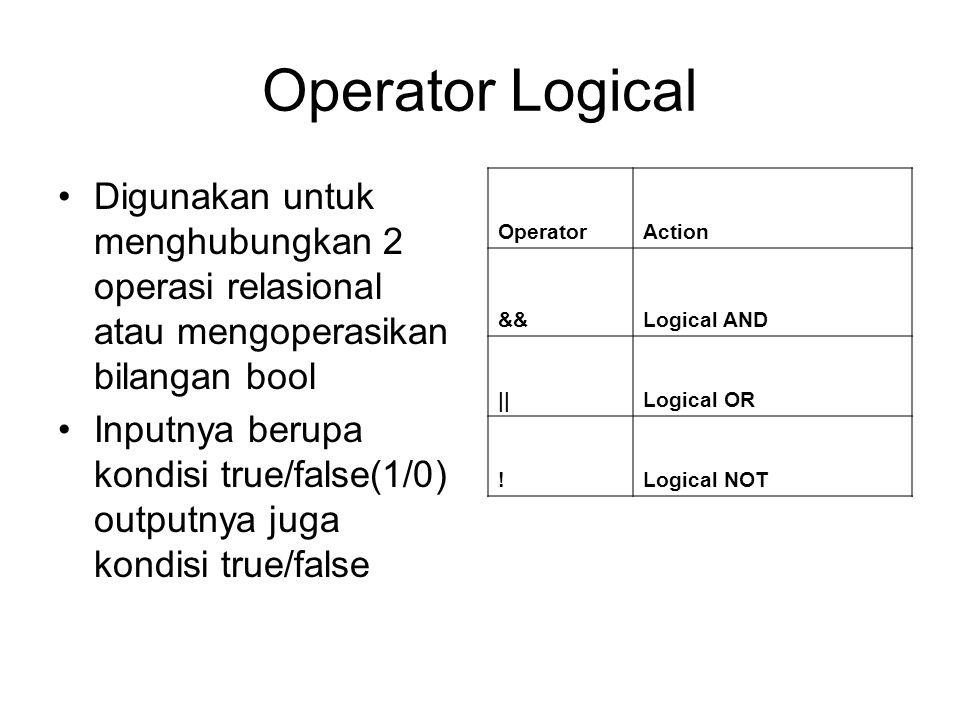 Operator Logical Digunakan untuk menghubungkan 2 operasi relasional atau mengoperasikan bilangan bool.