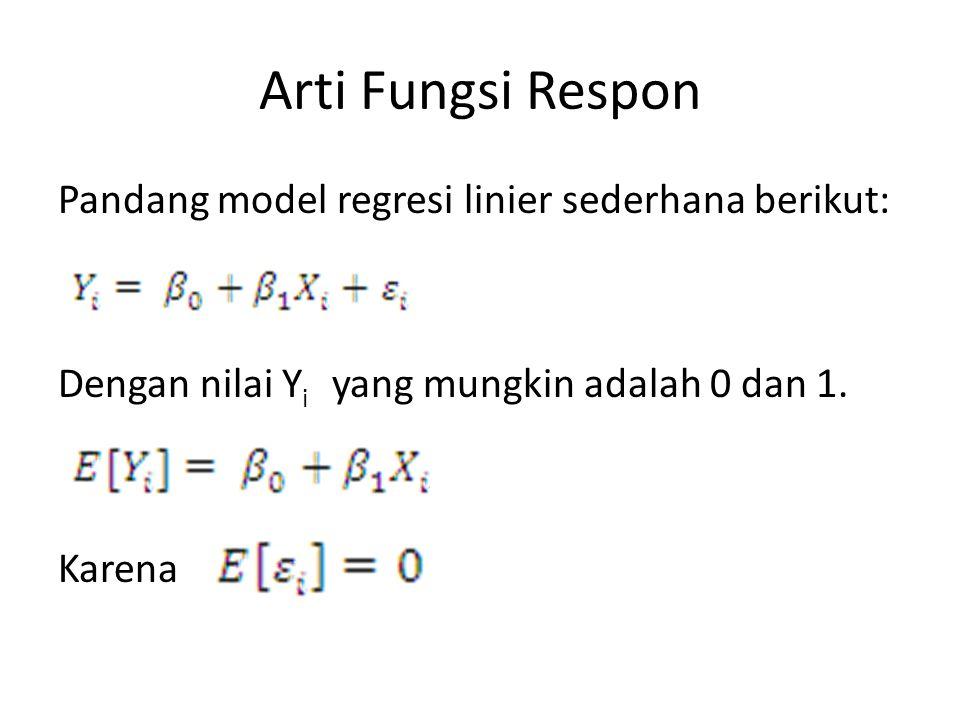 Arti Fungsi Respon Pandang model regresi linier sederhana berikut: Dengan nilai Yi yang mungkin adalah 0 dan 1.