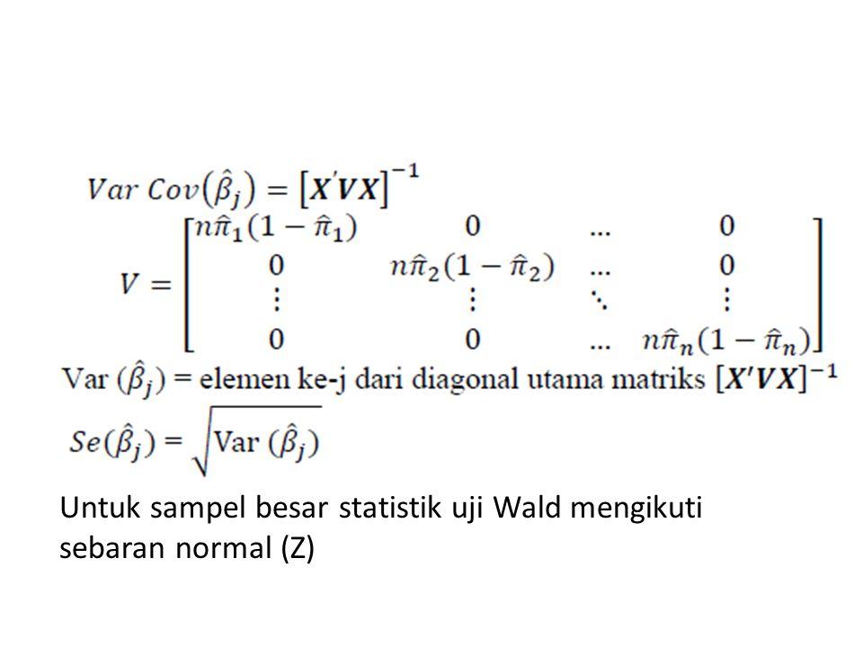 Untuk sampel besar statistik uji Wald mengikuti sebaran normal (Z)