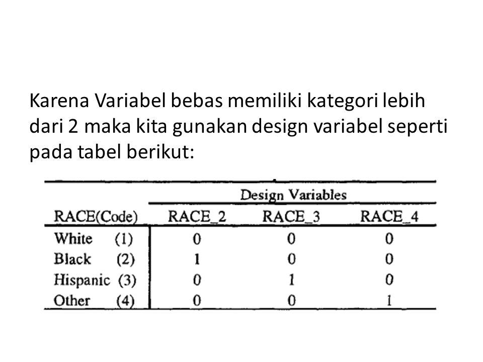 Karena Variabel bebas memiliki kategori lebih dari 2 maka kita gunakan design variabel seperti pada tabel berikut:
