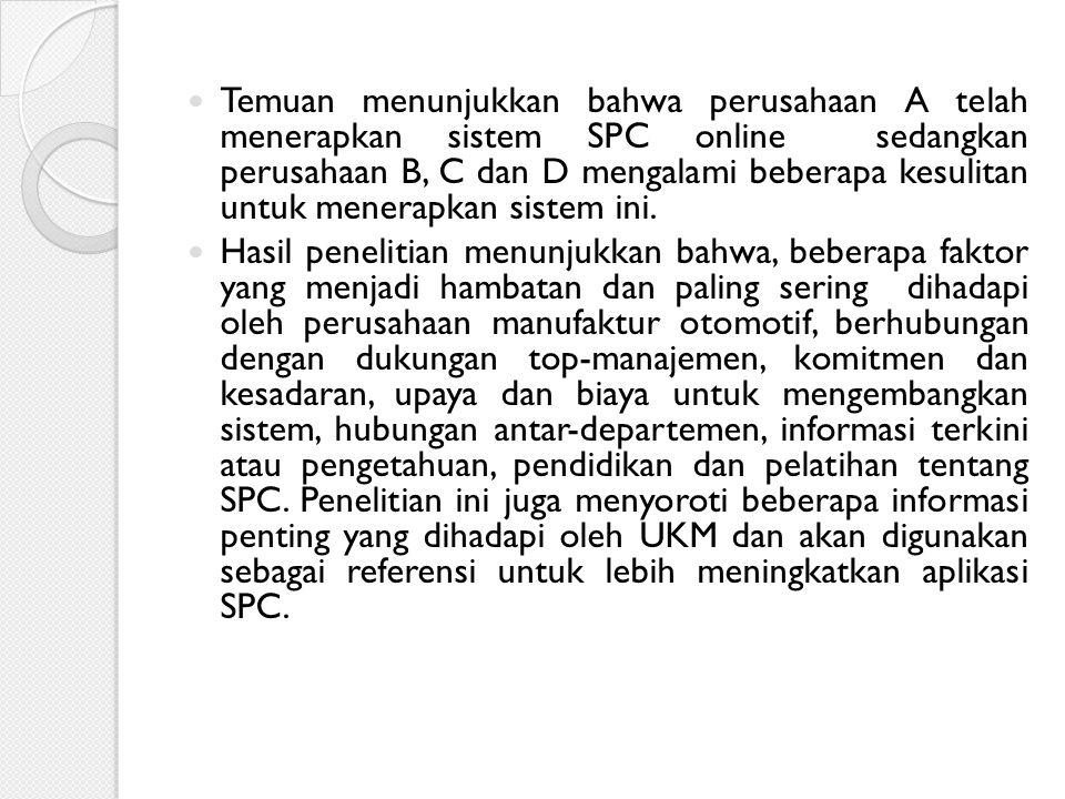 Temuan menunjukkan bahwa perusahaan A telah menerapkan sistem SPC online sedangkan perusahaan B, C dan D mengalami beberapa kesulitan untuk menerapkan sistem ini.