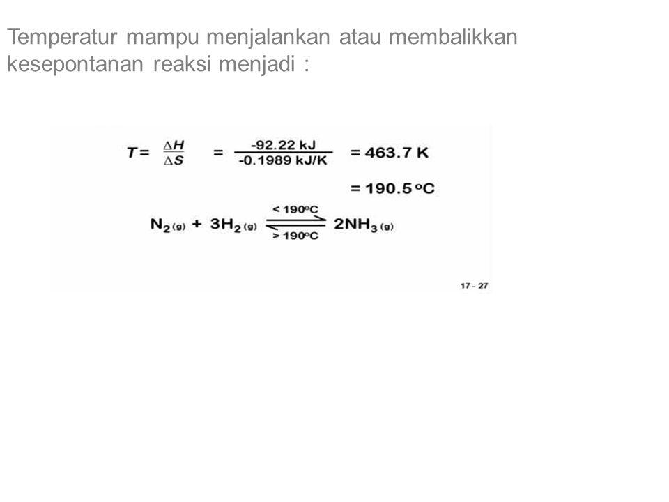 Temperatur mampu menjalankan atau membalikkan kesepontanan reaksi menjadi :