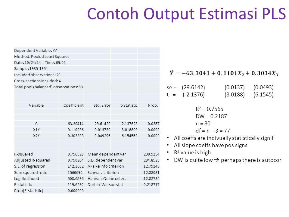 Contoh Output Estimasi PLS