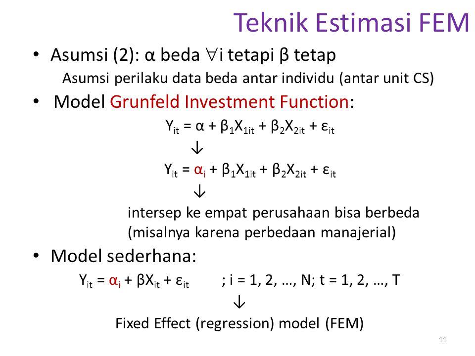 Teknik Estimasi FEM Asumsi (2): α beda i tetapi β tetap
