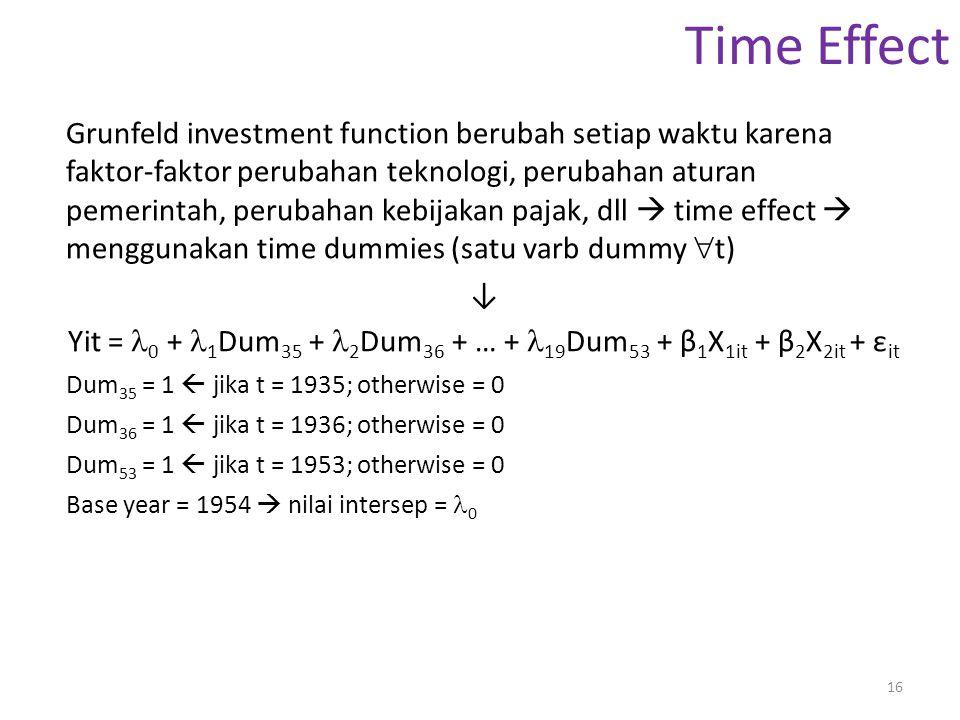Yit = 0 + 1Dum35 + 2Dum36 + … + 19Dum53 + β1X1it + β2X2it + εit