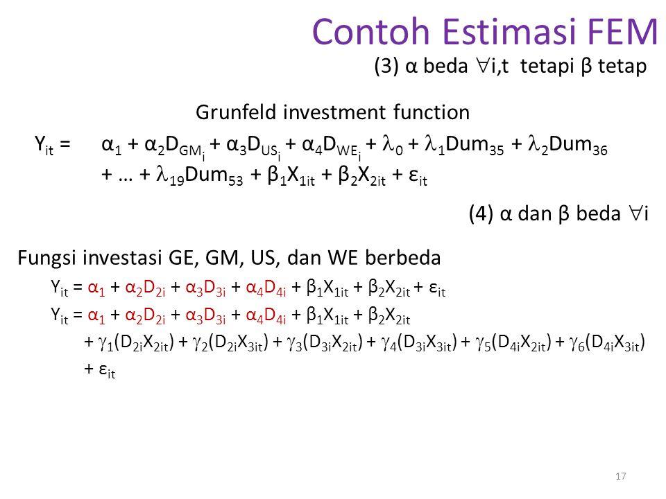 Contoh Estimasi FEM (3) α beda i,t tetapi β tetap