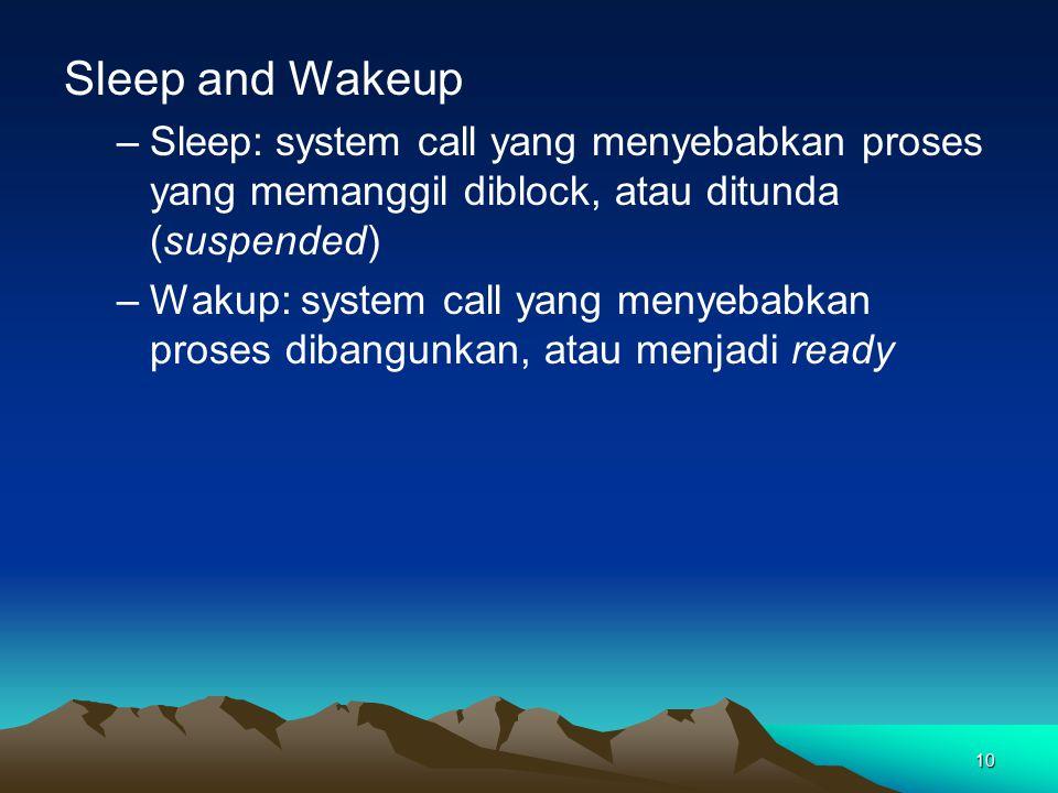 Sleep and Wakeup Sleep: system call yang menyebabkan proses yang memanggil diblock, atau ditunda (suspended)