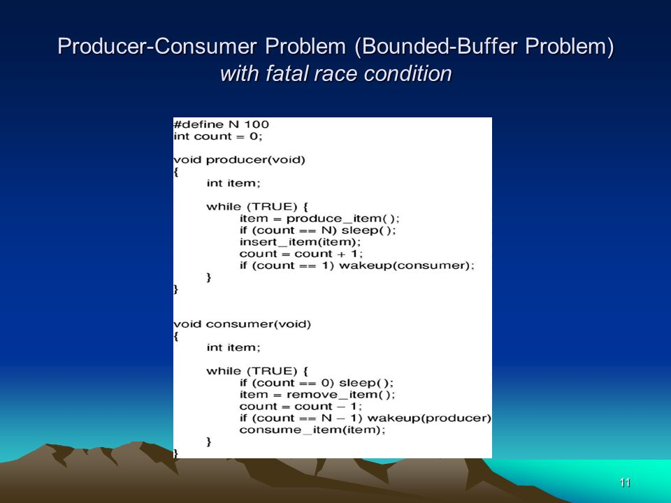 Producer-Consumer Problem (Bounded-Buffer Problem) with fatal race condition
