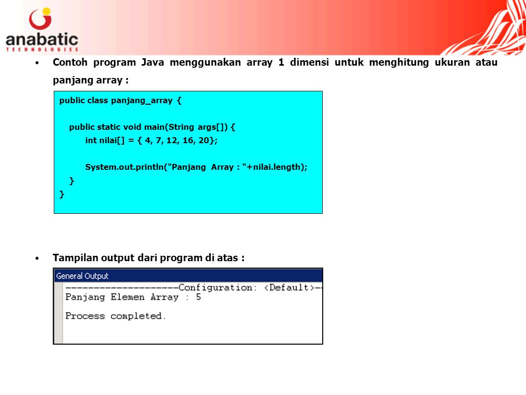 Tampilan output dari program di atas :