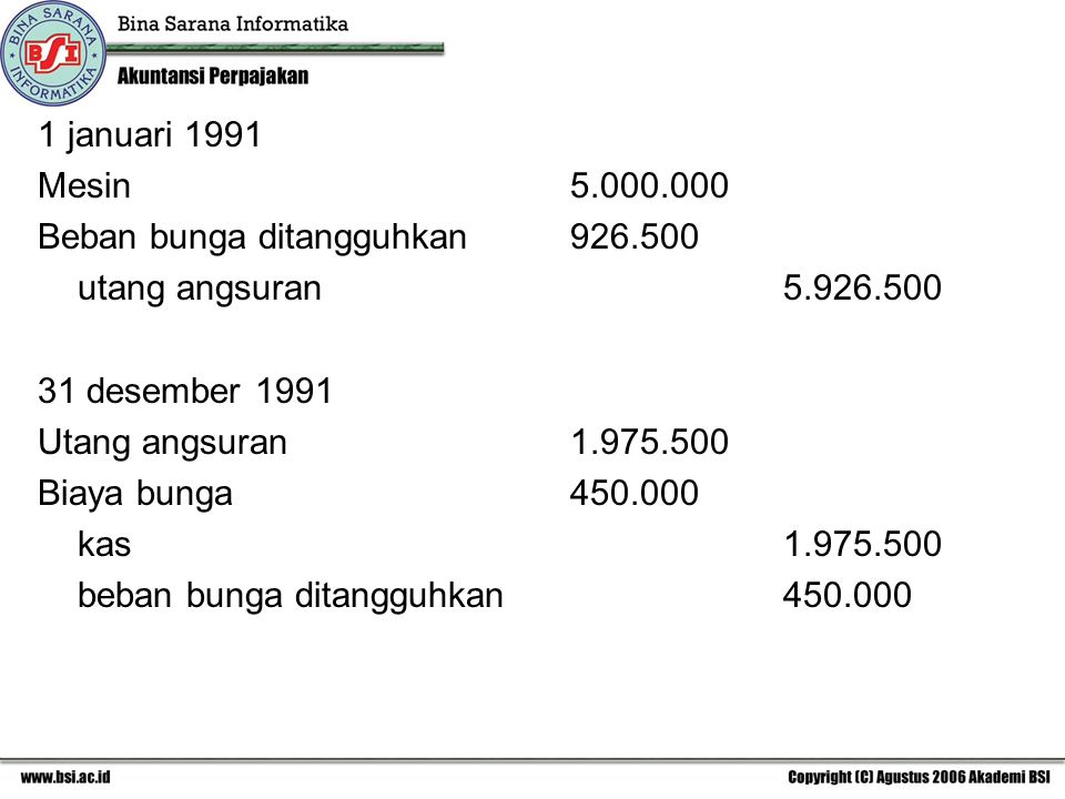 1 januari 1991 Mesin 5.000.000. Beban bunga ditangguhkan 926.500. utang angsuran 5.926.500.