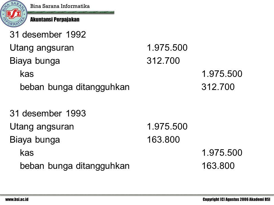 31 desember 1992 Utang angsuran 1.975.500. Biaya bunga 312.700. kas 1.975.500. beban bunga ditangguhkan 312.700.