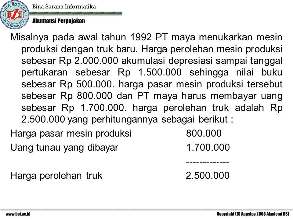 Misalnya pada awal tahun 1992 PT maya menukarkan mesin produksi dengan truk baru. Harga perolehan mesin produksi sebesar Rp 2.000.000 akumulasi depresiasi sampai tanggal pertukaran sebesar Rp 1.500.000 sehingga nilai buku sebesar Rp 500.000. harga pasar mesin produksi tersebut sebesar Rp 800.000 dan PT maya harus membayar uang sebesar Rp 1.700.000. harga perolehan truk adalah Rp 2.500.000 yang perhitungannya sebagai berikut :