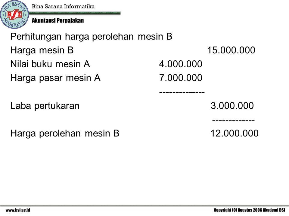 Perhitungan harga perolehan mesin B