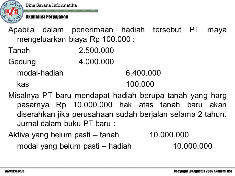 Apabila dalam penerimaan hadiah tersebut PT maya mengeluarkan biaya Rp 100.000 :