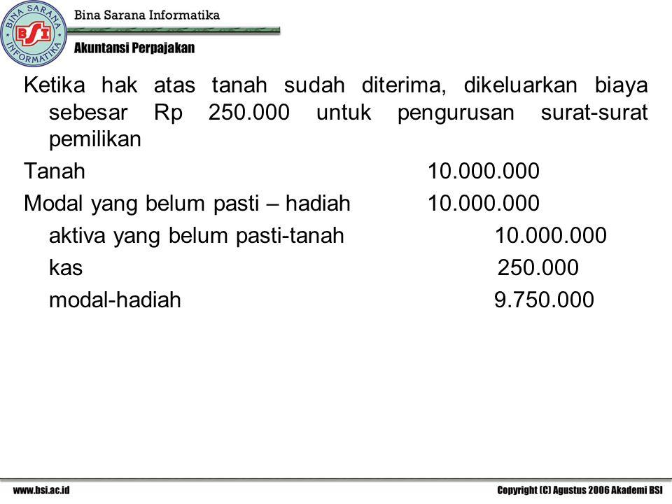Ketika hak atas tanah sudah diterima, dikeluarkan biaya sebesar Rp 250