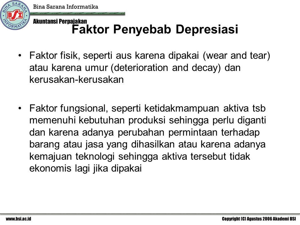 Faktor Penyebab Depresiasi