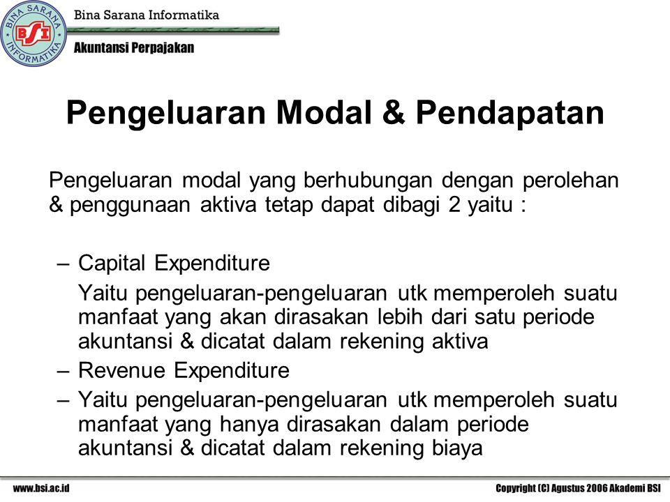 Pengeluaran Modal & Pendapatan