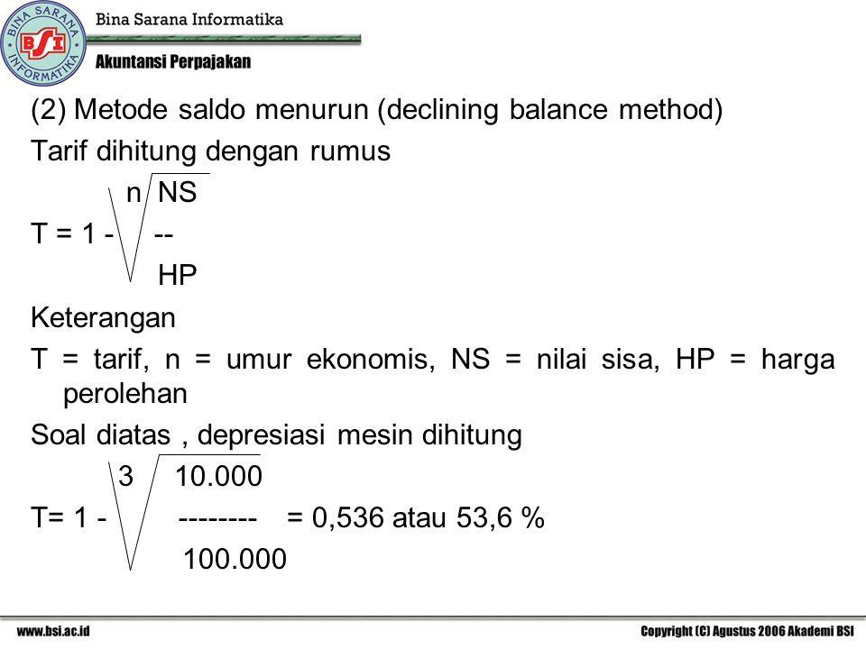 (2) Metode saldo menurun (declining balance method)