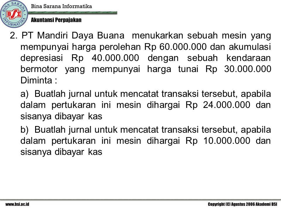 2. PT Mandiri Daya Buana menukarkan sebuah mesin yang mempunyai harga perolehan Rp 60.000.000 dan akumulasi depresiasi Rp 40.000.000 dengan sebuah kendaraan bermotor yang mempunyai harga tunai Rp 30.000.000 Diminta :