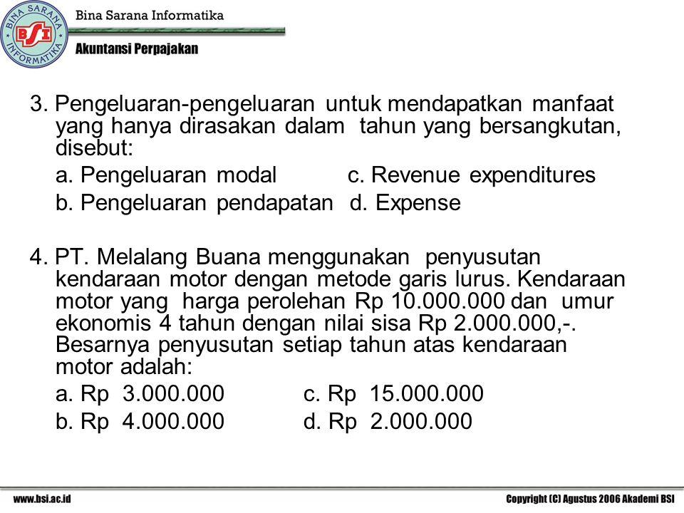 3. Pengeluaran-pengeluaran untuk mendapatkan manfaat yang hanya dirasakan dalam tahun yang bersangkutan, disebut: