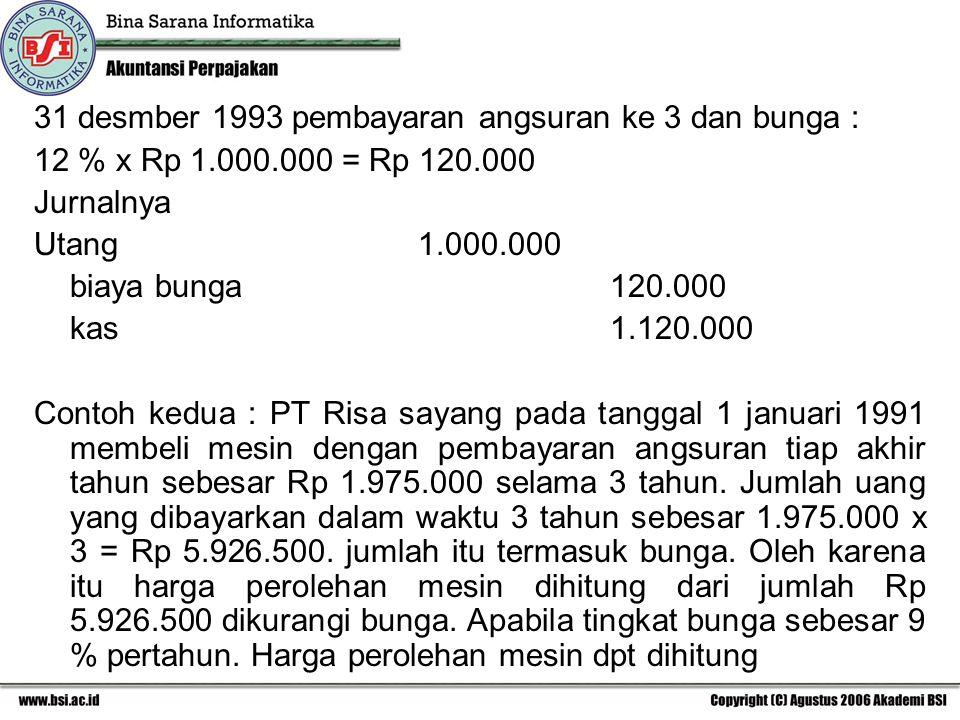 31 desmber 1993 pembayaran angsuran ke 3 dan bunga :