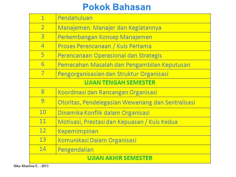Pokok Bahasan 1 Pendahuluan 2 Manajemen. Manajer dan Kegiatannya 3