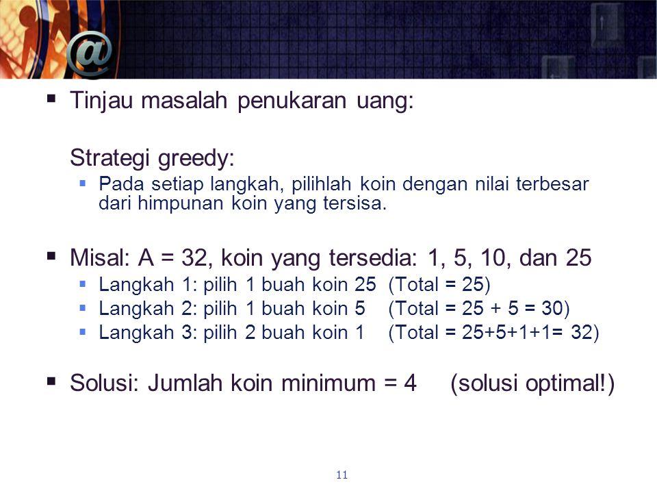 Tinjau masalah penukaran uang: Strategi greedy:
