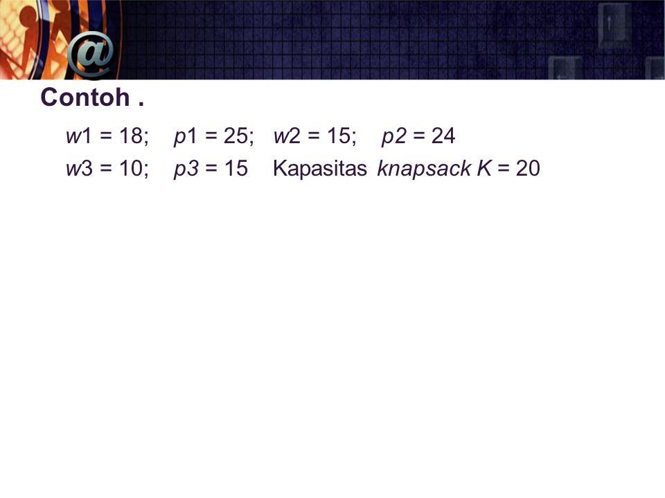 Contoh . w1 = 18; p1 = 25; w2 = 15; p2 = 24.