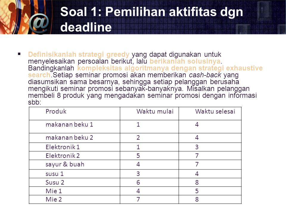 Soal 1: Pemilihan aktifitas dgn deadline