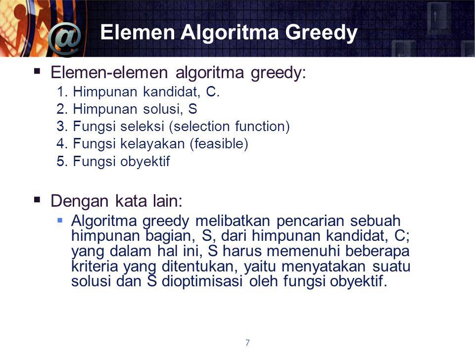 Elemen Algoritma Greedy