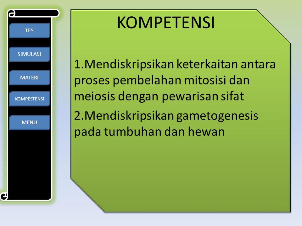 KOMPETENSI TES. SIMULASI. MATERI. KOMPESTENSI. 1.Mendiskripsikan keterkaitan antara proses pembelahan mitosisi dan meiosis dengan pewarisan sifat.