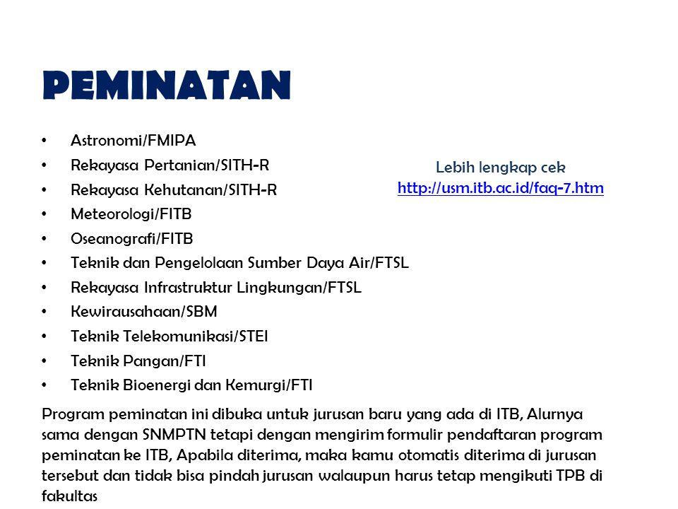 PEMINATAN Astronomi/FMIPA Rekayasa Pertanian/SITH-R