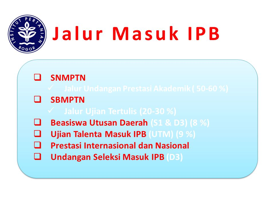 Jalur Masuk IPB SNMPTN SBMPTN Jalur Ujian Tertulis (20-30 %)