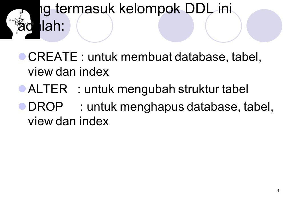 Yang termasuk kelompok DDL ini adalah: