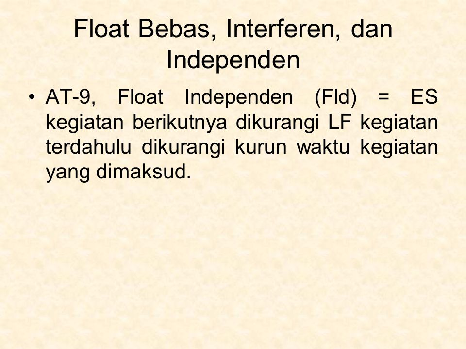 Float Bebas, Interferen, dan Independen