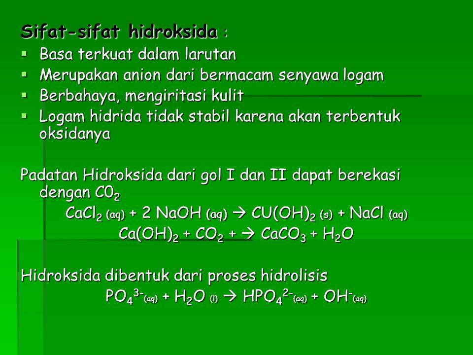 Sifat-sifat hidroksida :