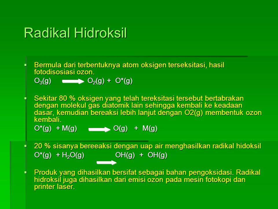 Radikal Hidroksil Bermula dari terbentuknya atom oksigen terseksitasi, hasil fotodisosiasi ozon. O3(g) O2(g) + O*(g)