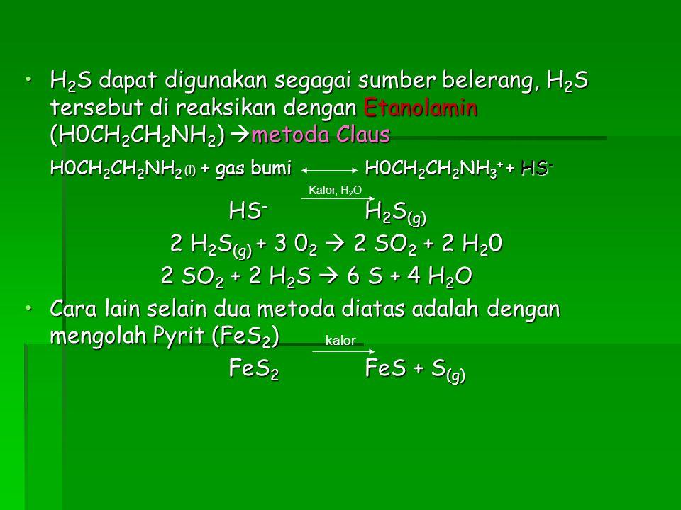 H0CH2CH2NH2 (l) + gas bumi H0CH2CH2NH3+ + HS- HS- H2S(g)
