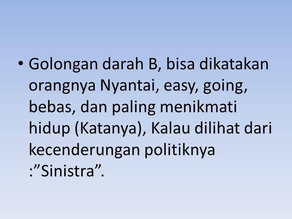 Golongan darah B, bisa dikatakan orangnya Nyantai, easy, going, bebas, dan paling menikmati hidup (Katanya), Kalau dilihat dari kecenderungan politiknya : Sinistra .