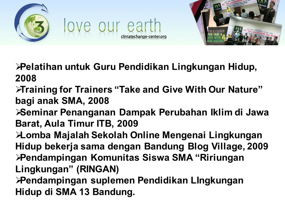 Pelatihan untuk Guru Pendidikan Lingkungan Hidup, 2008